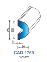 CAD1769G Profil EPDM   70 Shore   Gris