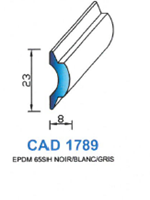 CAD1789G Profil EPDM   65 Shore   Gris