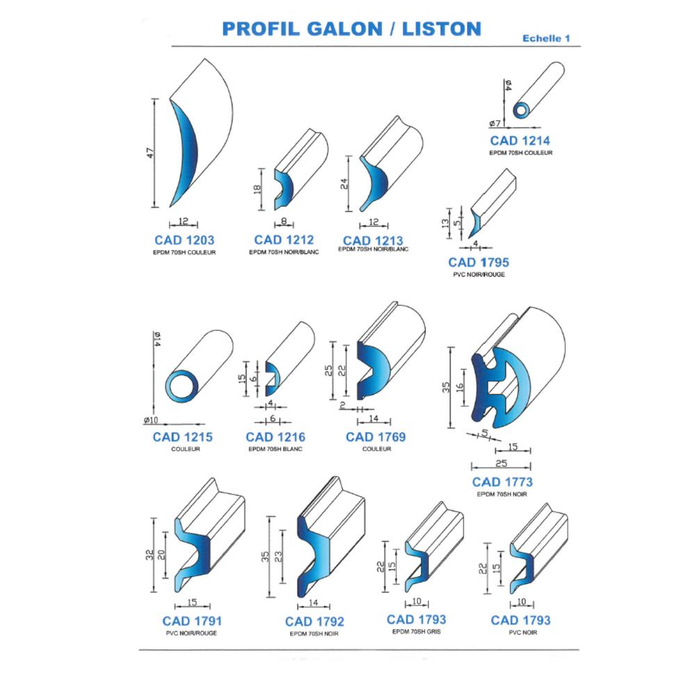 CAD1795C Profil PVC   Rouge