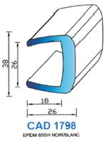 CAD1798B Profil EPDM <br /> 65 Shore <br /> Blanc<br />