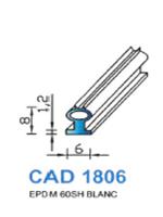 CAD1806B Profil EPDM   60 Shore   Blanc