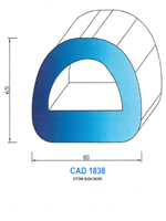 CAD1838N Profil EPDM   50 Shore   Noir