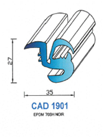 CAD1901N Profil EPDM <br /> 70 Shore <br /> Noir<br />