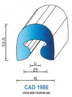 CAD1986B Profil EPDM   65 Shore   Blanc