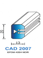 CAD2007N Profil EPDM   40 Shore   Noir