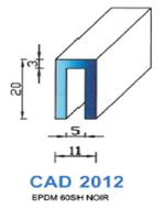 CAD2012N Profil EPDM   60 Shore   Noir