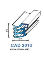 CAD2013B Profil EPDM <br /> 60 Shore <br /> Blanc<br />