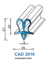 CAD2016N Profil EPDM <br /> 60 Shore <br /> Noir<br />