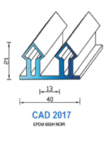 CAD2017N Profil EPDM   65 Shore   Noir