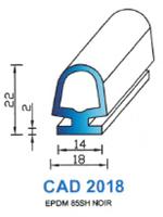 CAD2018N Profil EPDM <br /> 85 Shore <br /> Noir<br />