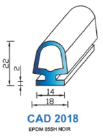 CAD2018N PROFIL EPDM - 85SH - NOIR