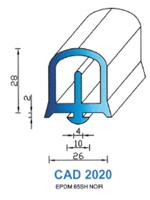 CAD2020N Profil EPDM <br /> 65 Shore <br /> Noir<br />