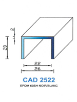CAD2522B Profil EPDM   60 Shore   Blanc
