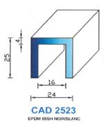 CAD2523B Profil EPDM   65 Shore   Blanc
