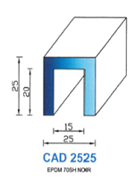 CAD2525B Profil EPDM   65 Shore   Blanc