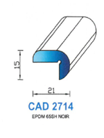 CAD2714N Profil EPDM <br /> 65 Shore <br /> Noir<br />