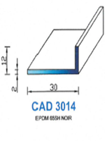 CAD3014N Profil EPDM <br /> 65 Shore <br /> Noir<br />
