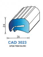 CAD3023B Profil EPDM <br /> 70 Shore <br /> Blanc<br />