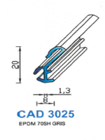 CAD3025G Profil EPDM <br /> 70 Shore <br /> Gris<br />