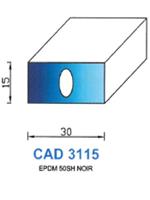 CAD3115N Profil EPDM   50 Shore   Noir