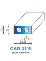 CAD3119N Profil EPDM   70 Shore   Noir