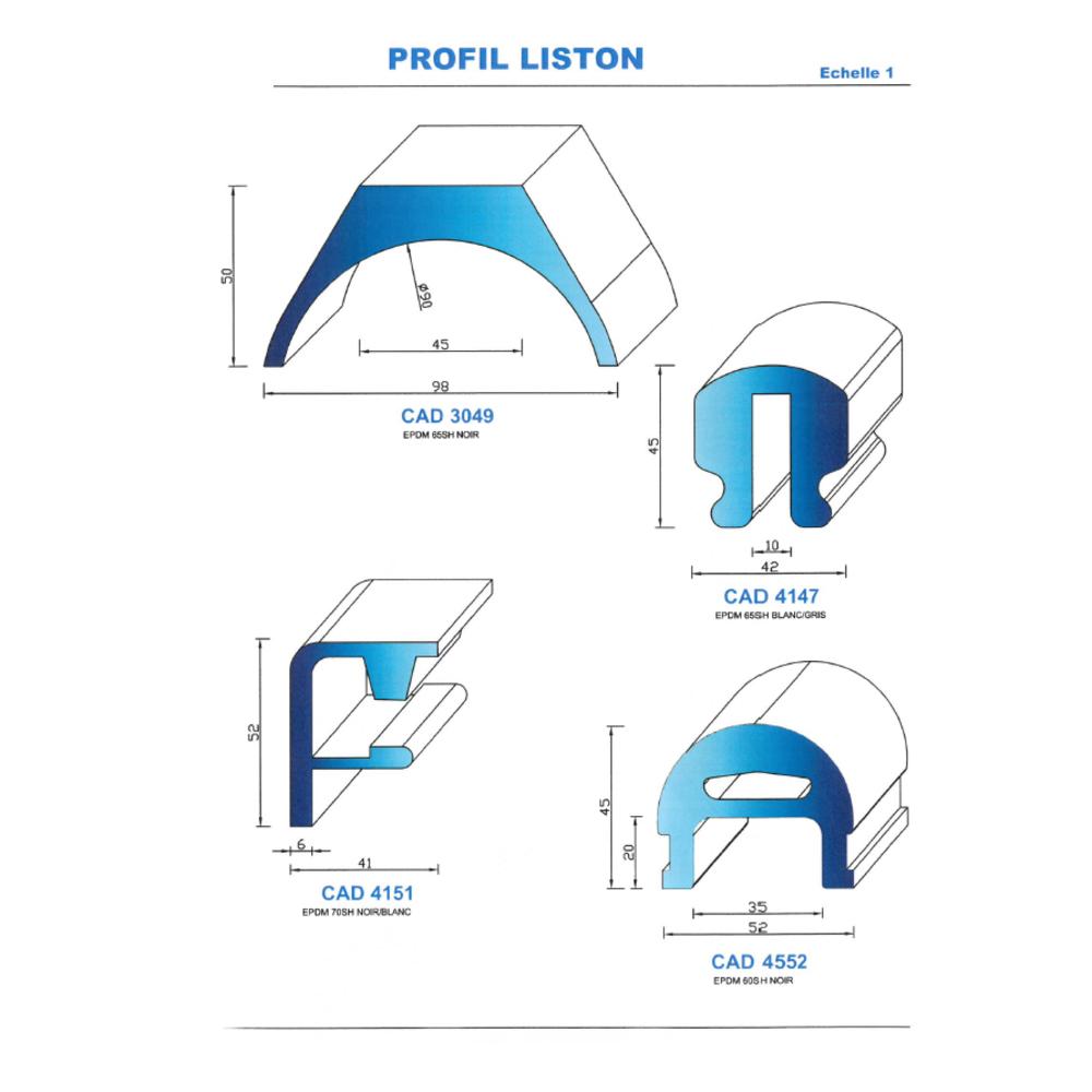 CAD4147C Profil EPDM   65 Shore   Couleur