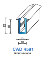 CAD4591N Profil EPDM   70 Shore   Noir