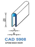 CAD5908N Profil EPDM   65 Shore   Noir