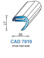 CAD7019N Profil EPDM   70 Shore   Noir