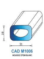 CADM1006B Profil Mousse EPDM <br /> Blanc<br />