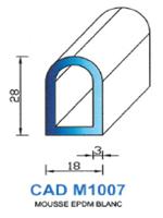 CADM1007B Profil Mousse EPDM <br /> Blanc<br />