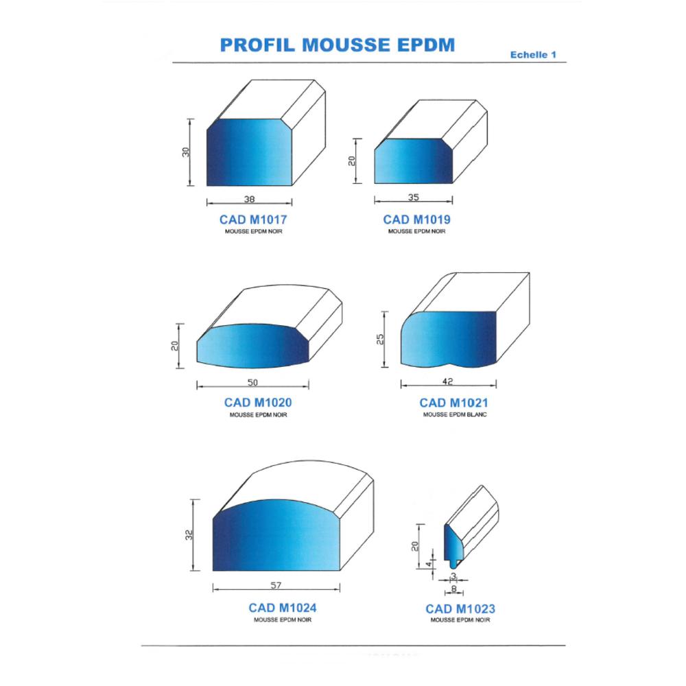 CADM1019N Profil Mousse EPDM   Noir