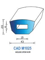 CADM1025N Profil Mousse EPDM <br /> Noir<br />