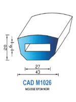 CADM1026N Profil Mousse EPDM   Noir
