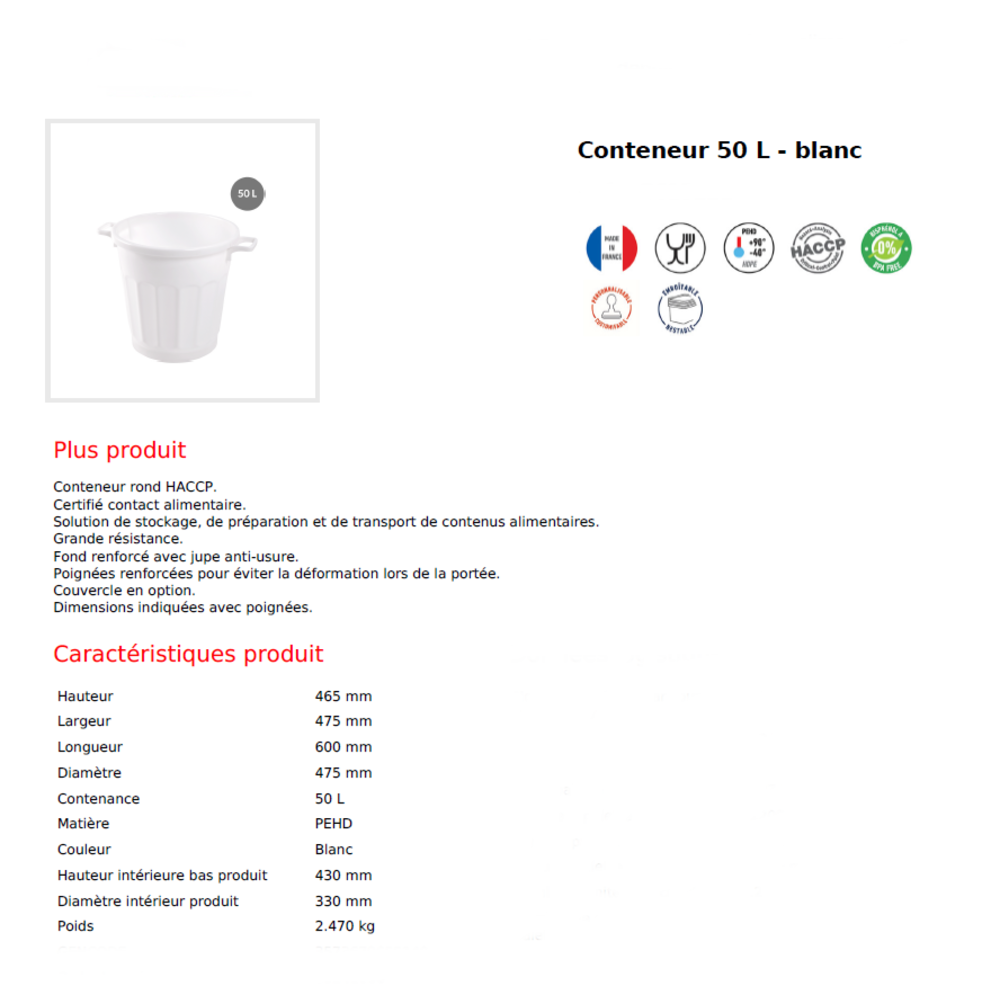 Container rond emboitable BLANC