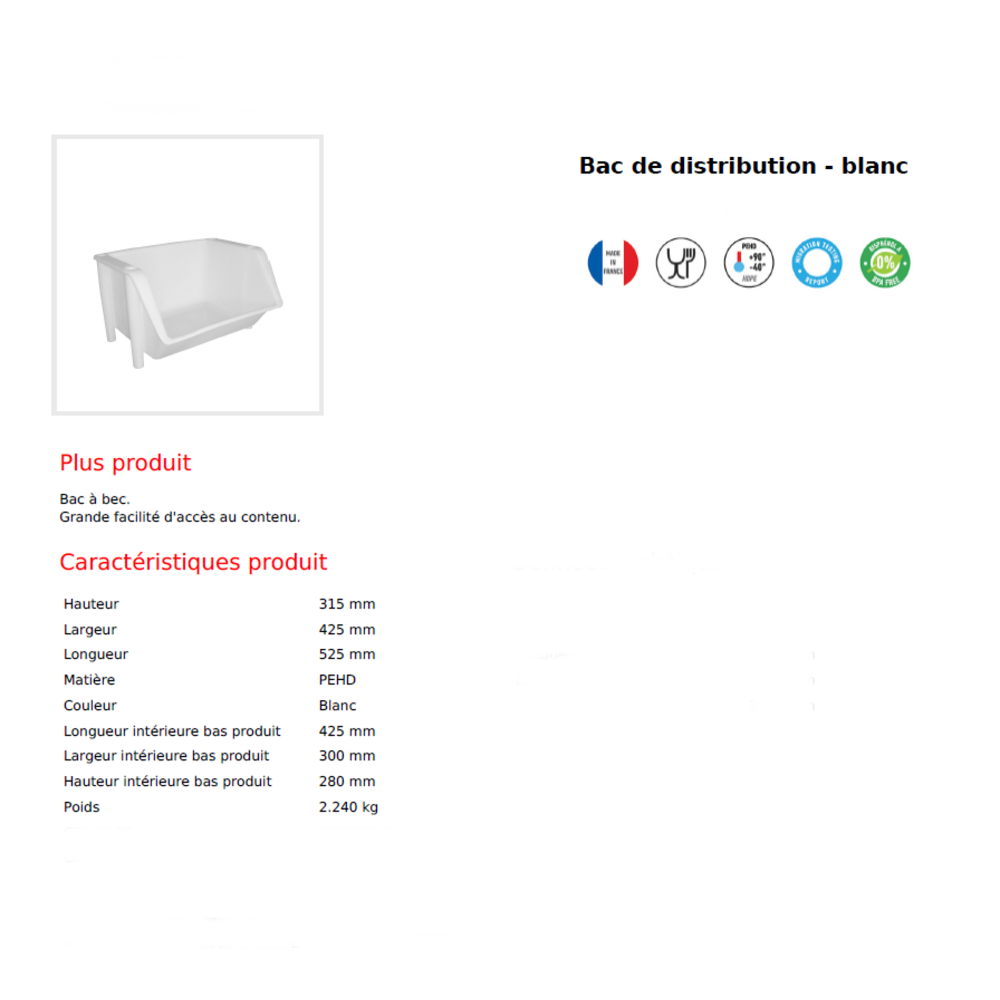 Bac superposable de stockage blanc