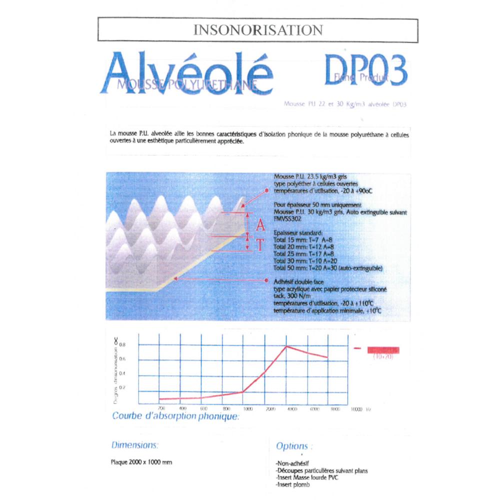 Mousse PU Alvéolée 1F ADH   [EP 40 mm]   Format (2000 x 1000 mm)